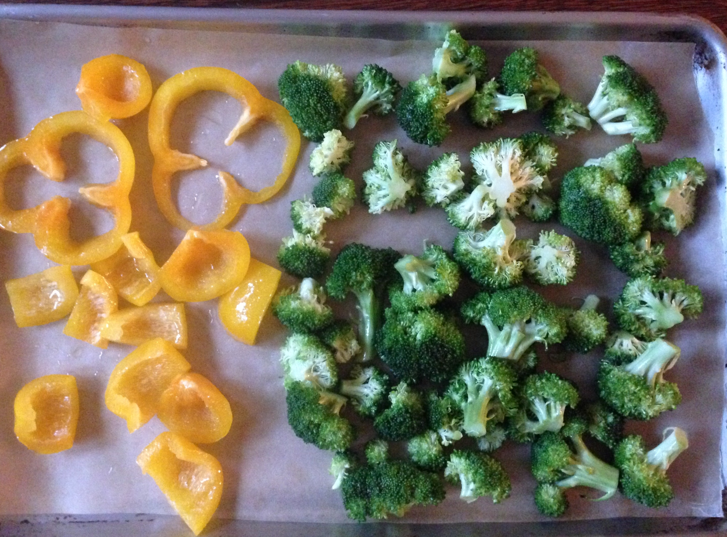 Broccoli and Bell Peppers Ready to Roast