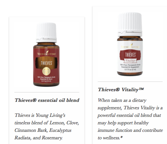 Thieves essential oil and Thieves Vitality Young Living