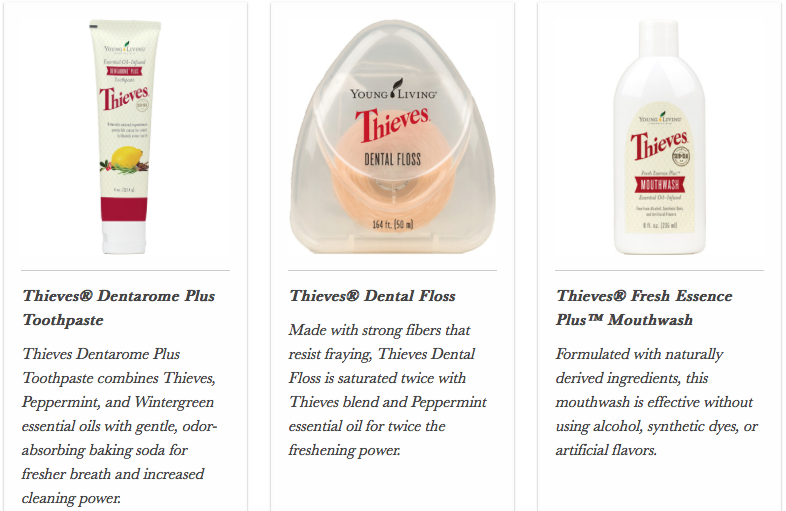 Young Living Thieves Toothpaste Floss Mouthwash