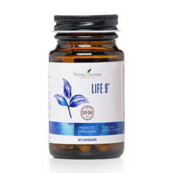 Life 9™ is a proprietary, high-potency probiotic that combines 17 billion live cultures from 9 beneficial bacteria strains that promotes healthy digestion, supports gut health, and helps maintain normal intestinal function for overall support of a healthy immune system.* Life 9 is specially designed with special delayed-release capsules, a dual-sorbent desiccant, and a special bottle and cap that ensure your Life 9 stays fresh and effective. Each bottle contains 30 capsules, making it easy to use this helpful supplement daily. Probiotic Life9 YoungLiving.com