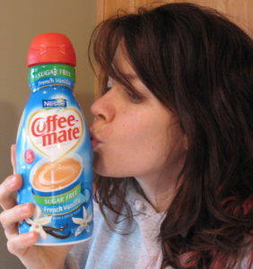 Heather eats fairly healthy but admits on her blog to a Coffee-mate addiction.
