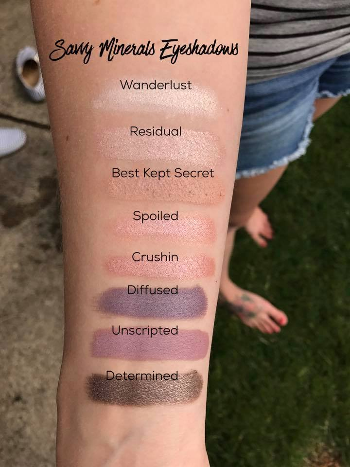 YL Savvy Minerals Eyeshadows on the arm